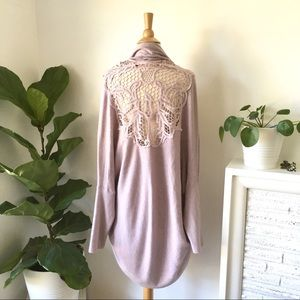Garnet Hill lilac crochet back cocoon cardigan